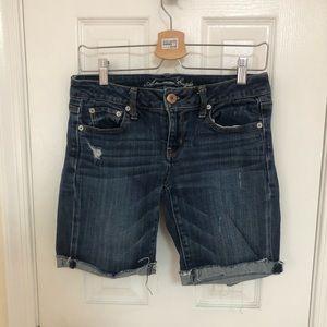 Dark Wash Distressed Mid-Rise Bermuda Jean Shorts